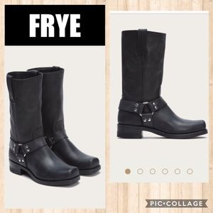 EUC FRYE Black Harness Boots Size 10.5